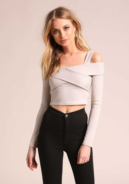 Grey Cold Shoulder Ribbed Knit Crop Top