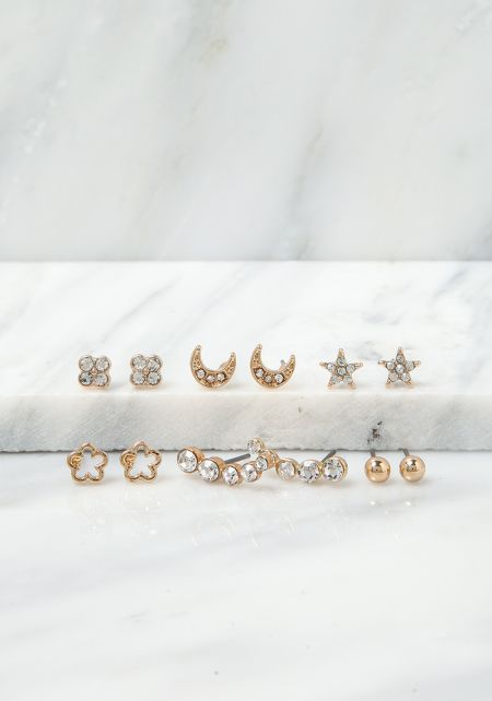 Gold Rhinestone Dainty Star & Moon Earrings Set