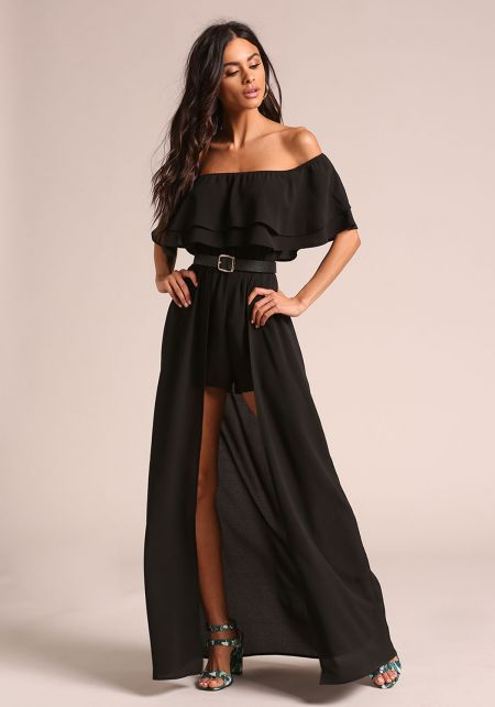 Black Off Shoulder Layered Maxi Romper