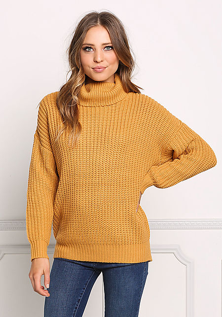 Mustard Chunky Knit Turtleneck Sweater Top