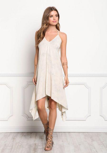 Beige Tie Dye Hi-Lo Lace Up Cami Dress