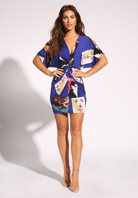 Royal Blue Cover Girl Twisted Bodycon Dress