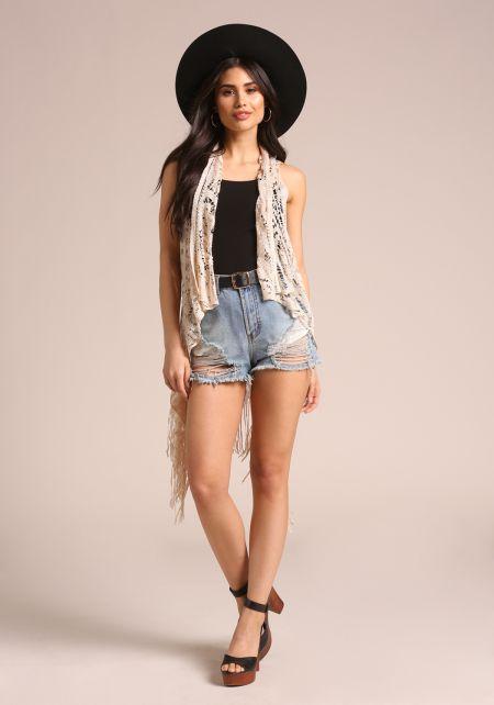 Beige Crochet Fringe Hi-Lo Vest