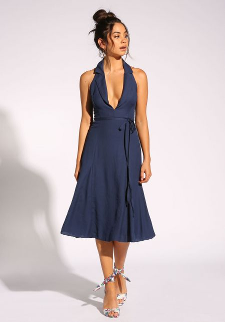 Navy Collared Plunge Halter Dress