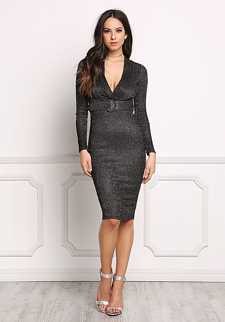Black Plunge Sparkle Belted Bodycon Dress
