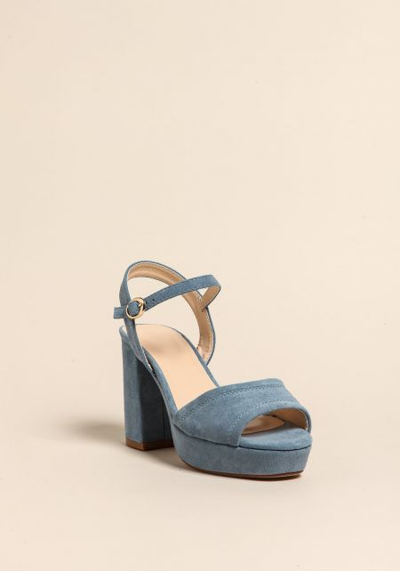 Light Blue Platform Ankle Strap Heels