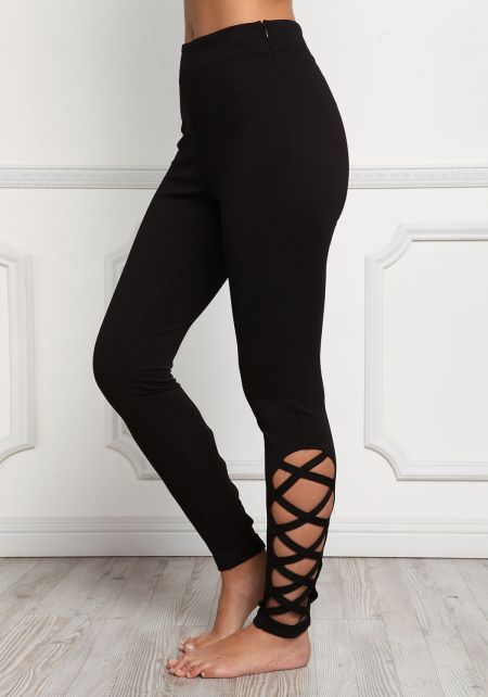 Black Side Caged High Rise Leggings