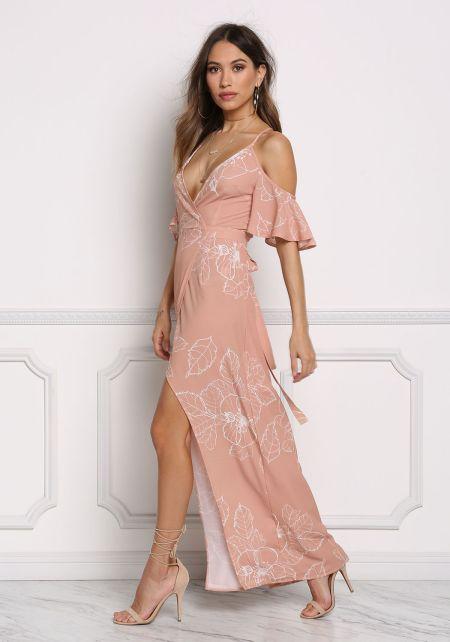 Blush Cold Shoulder Wrap Maxi Dress