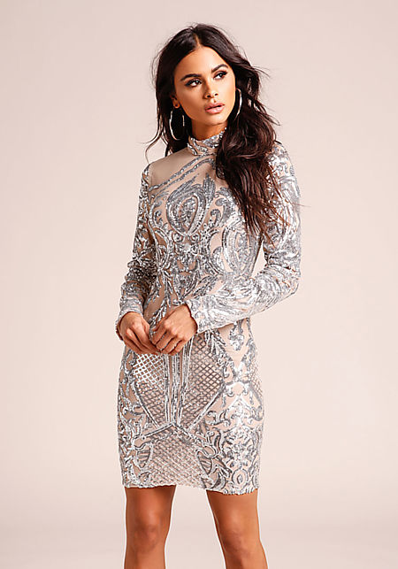 Silver Sequin Patterned Tulle Bodycon Dress