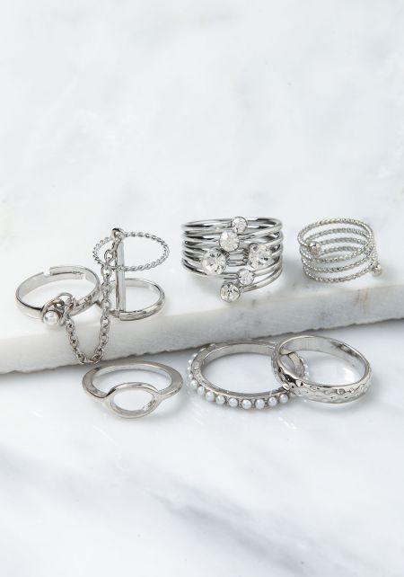 Silver Rhinestone & Peals Rings Set