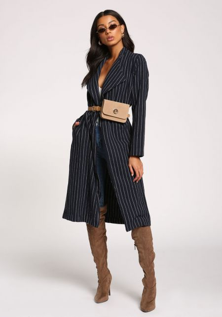 Navy Pinstripe Pocket Longlined Jacket