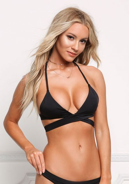 Black Halter Tie Swimsuit Bikini Top