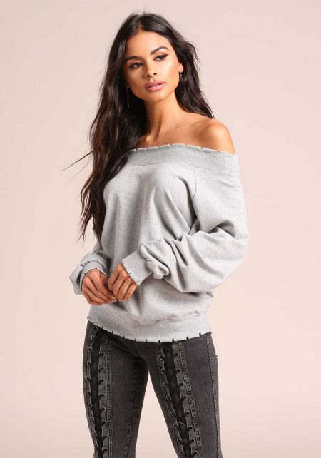 Heather Grey Off Shoulder Slit Sweater Top