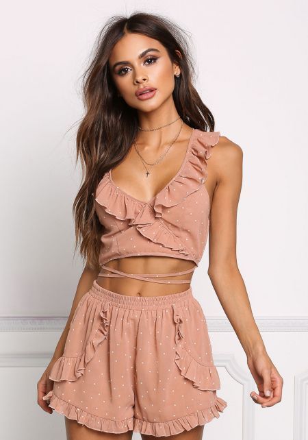 Mocha Polka Dot Cross Strap Ruffle Crop Top