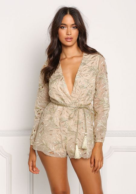Gold Leaf Embroidered Plunge Cinched Romper