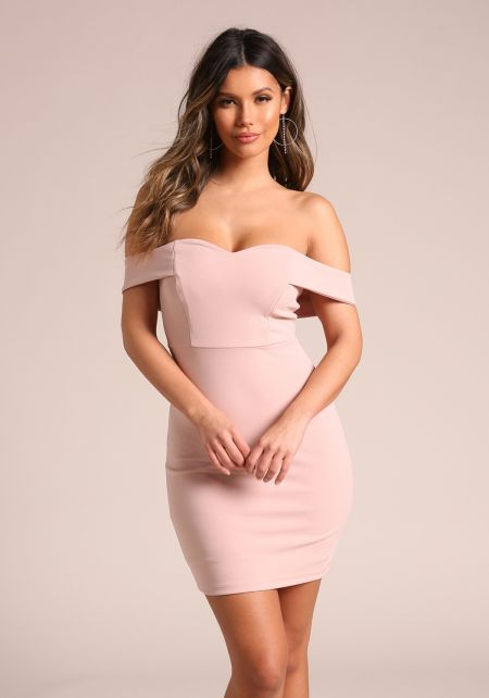 Blush Sweetheart Off Shoulder Bodycon Dress