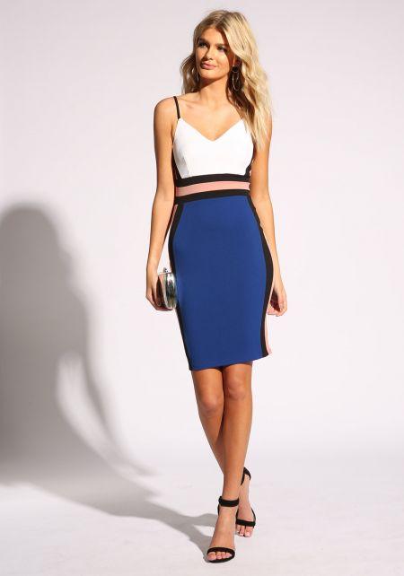 Royal Blue Color Block Bodycon Dress