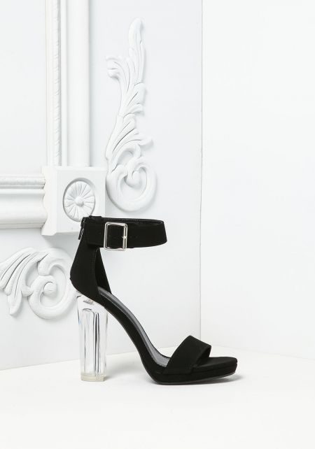 Black Suedette Ankle Strap Clear Heels