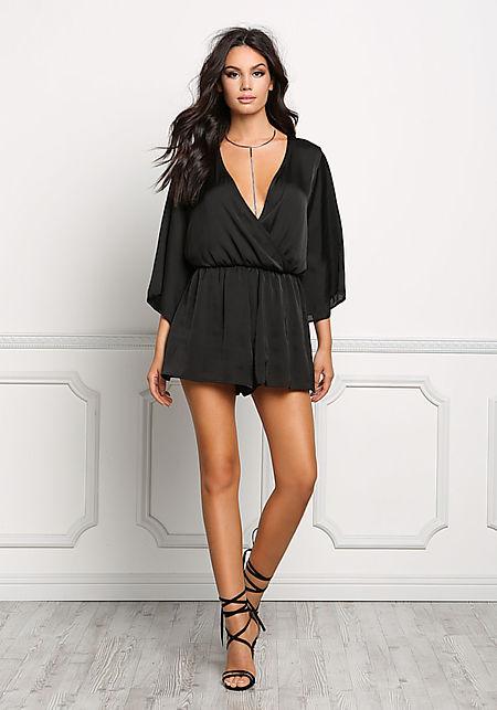 Black Silky Kimono Romper