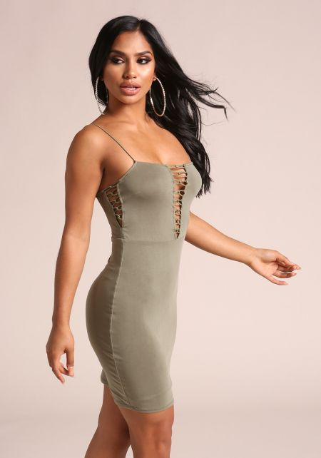 Olive Multi Strap Plunge Bodycon Dress