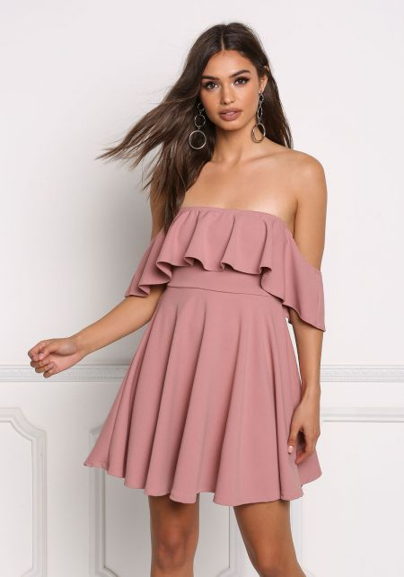 Mauve Off Shoulder Ruffle Flared Dress