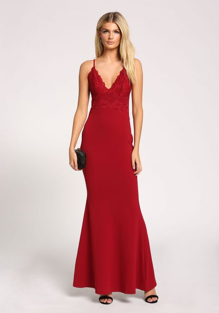 Burgundy Lace Mermaid Maxi Gown