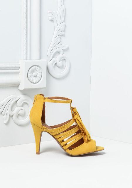 Yellow Suedette Multi Strap Tassel Heels