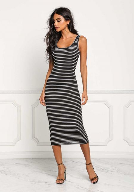 Black Stripe Ribbed Knit Midi Dress