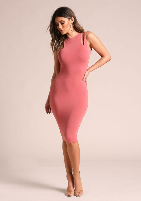 Salmon Double Strap Sleek Bodycon Dress