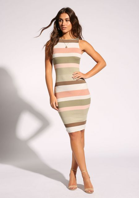 Sage Color Block Bodycon Dress