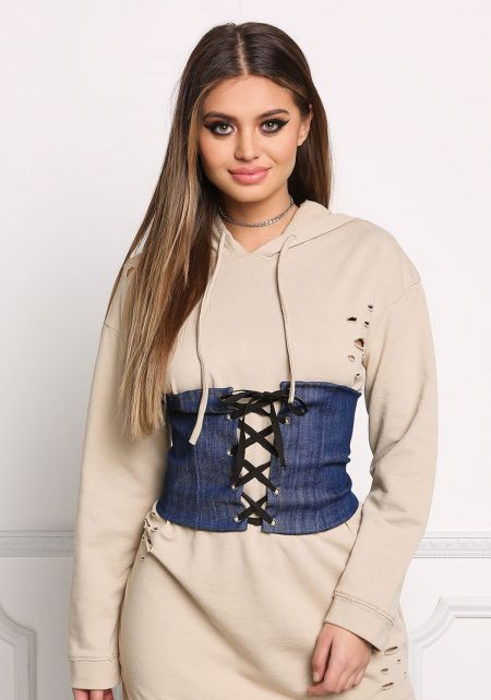 Dark Denim Lace Up Corset Belt