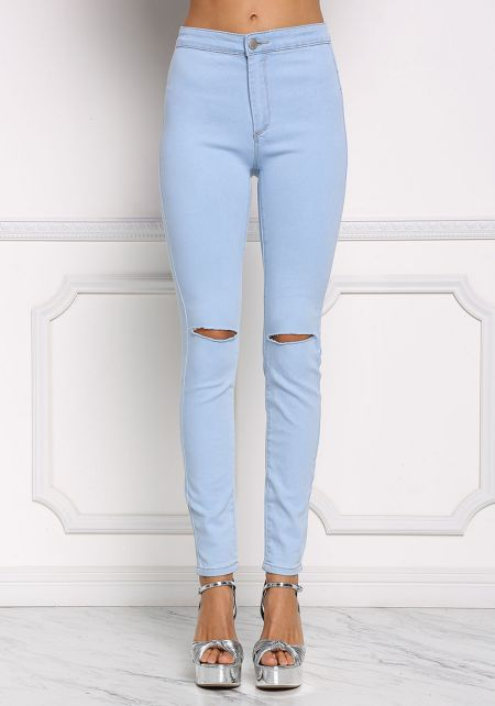 Light Blue High Rise Slit Knee Jeans
