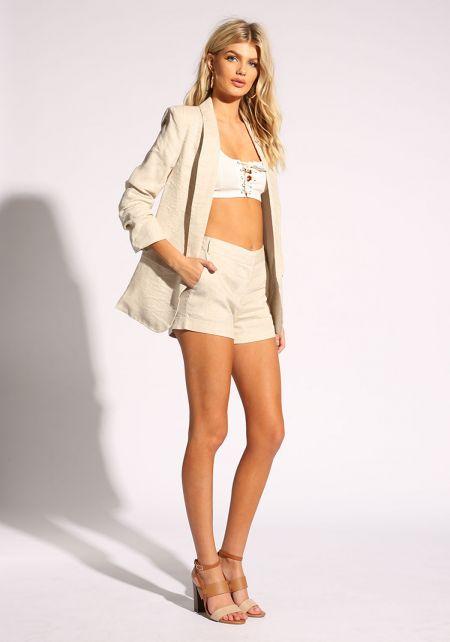 Oatmeal Linen High Rise Shorts