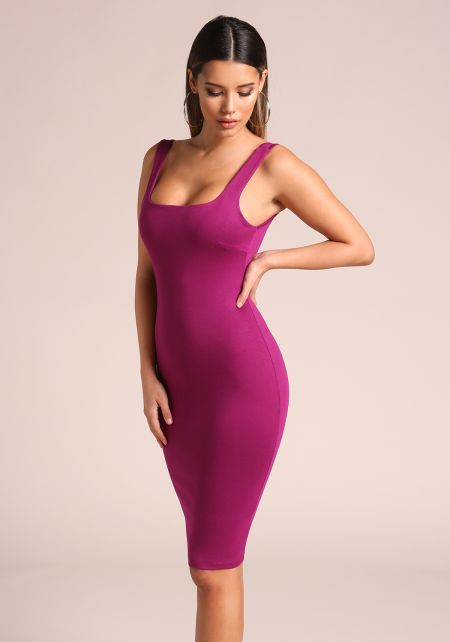 Magenta Square Neck Bodycon Dress
