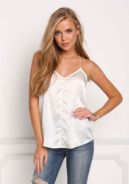 Ivory Silky Buttoned Tank Top
