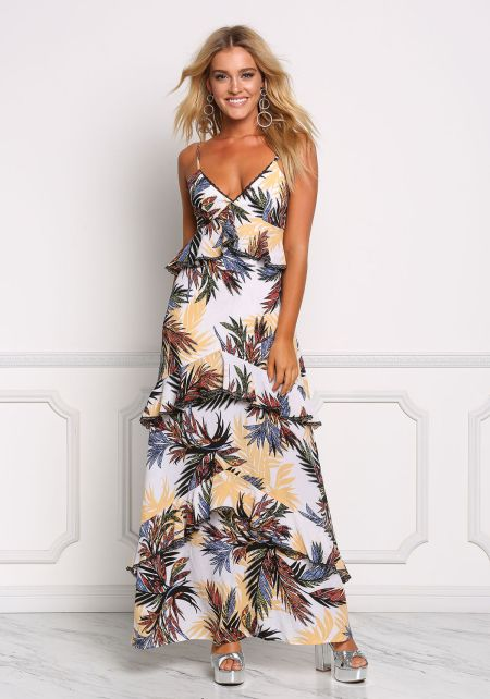Multi Tropical Leaf Tiered Maxi Dress