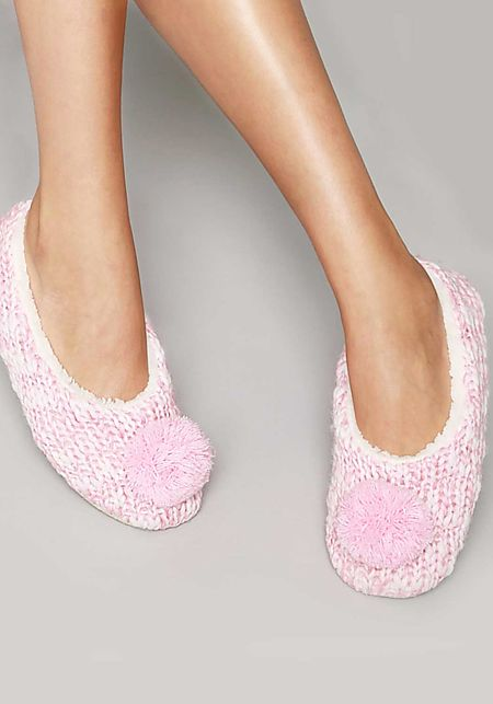 Pink Pom Pom Yarn Sock Slippers