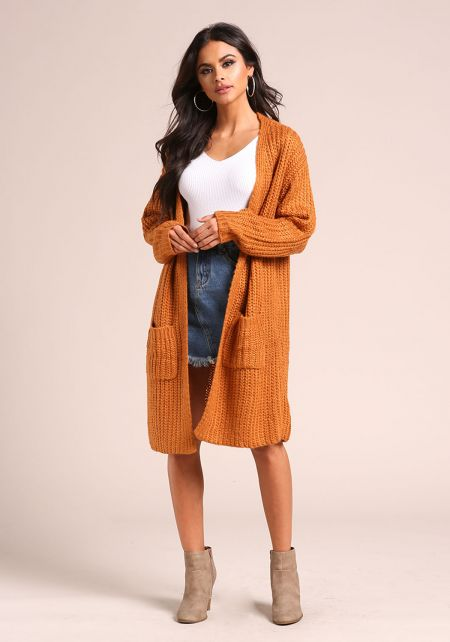 Rust Longlined Thick Knit Pocket Cardigan