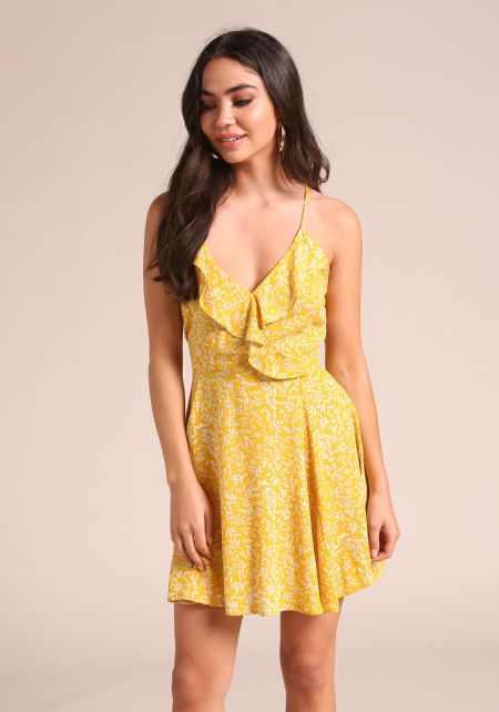 Yellow Leaf Back Lace Up Flared Dress