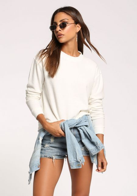 Cream Soft Knit Sweater Top