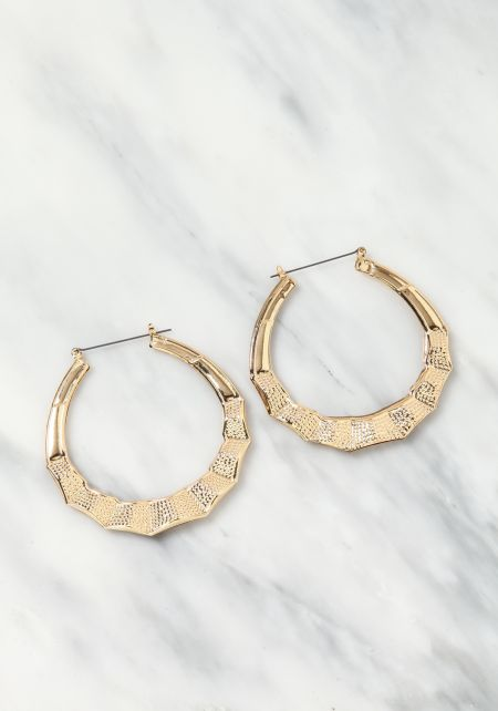 Gold Bamboo C Hoop Earrings
