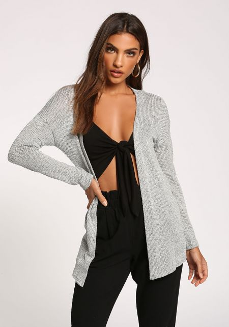 Grey Open Front Knitted Cardigan
