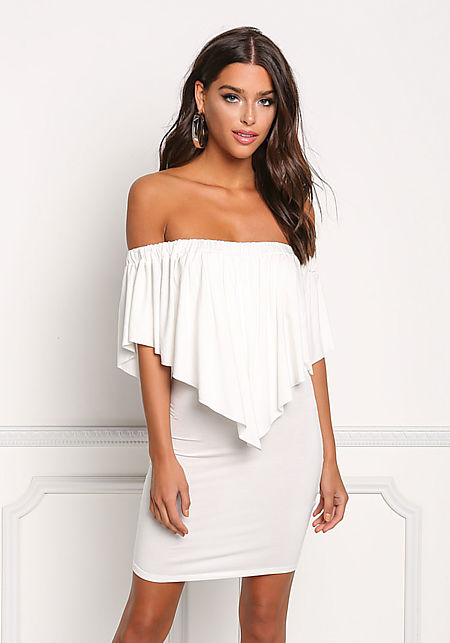 Ivory Off Shoulder Pointed Layered Bodycon Dress