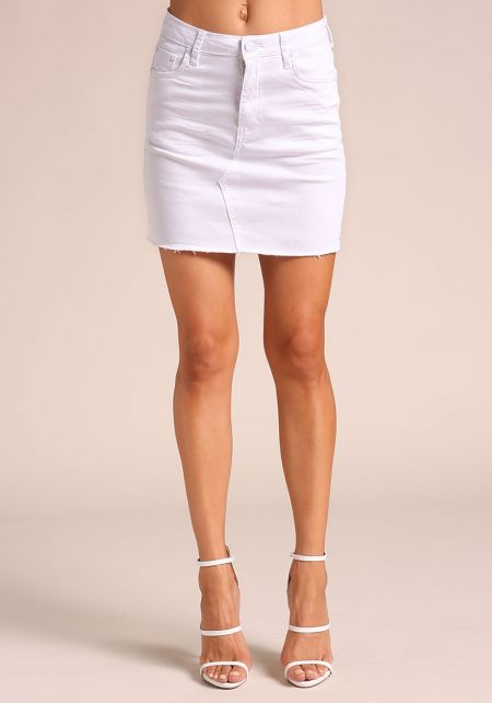 White High Rise Denim Skirt