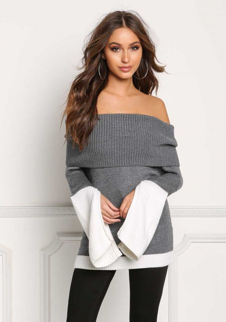 Heather Grey Two Tone Thick Off Shoulder Sweater