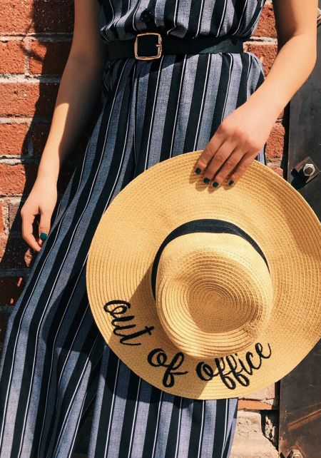 Beige Out Of Office Straw Sun Hat