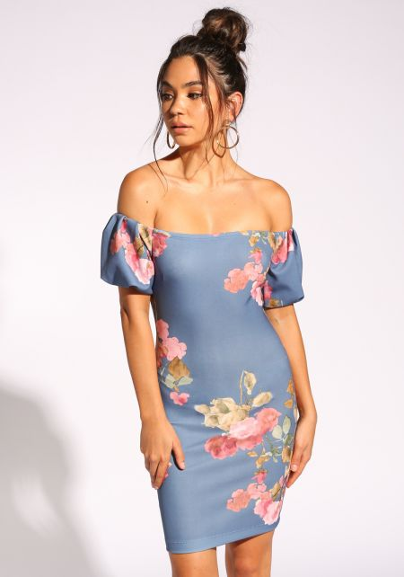 Dusty Blue Rose Off Shoulder Bodycon Dress