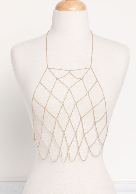 Gold Thin Caged Body Chain