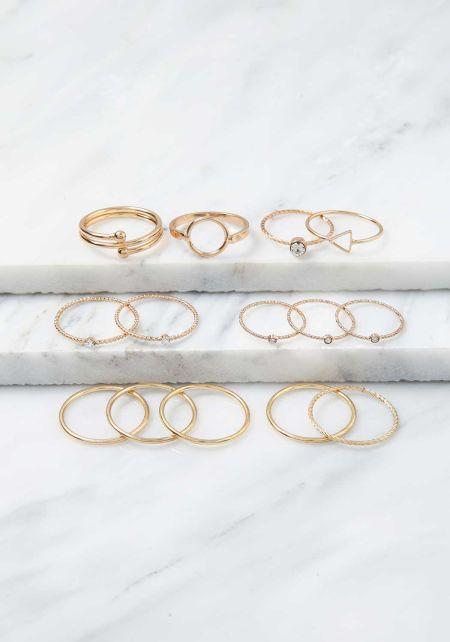 Gold Assorted Rhinestone Midi Rings