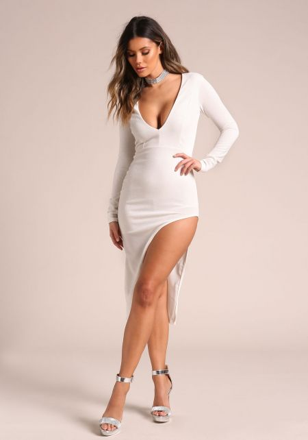 White Sparkled High Side Slit Plunge Bodycon Dress